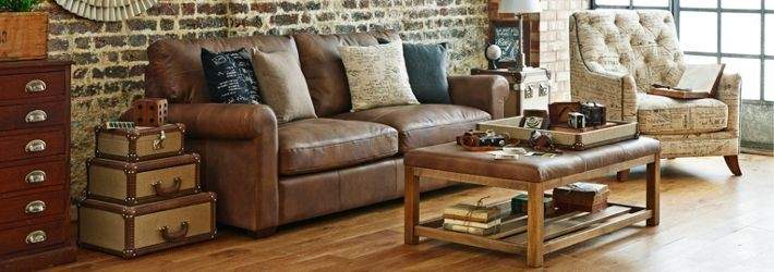 Shabby Chic Leather Sofa Living Room
