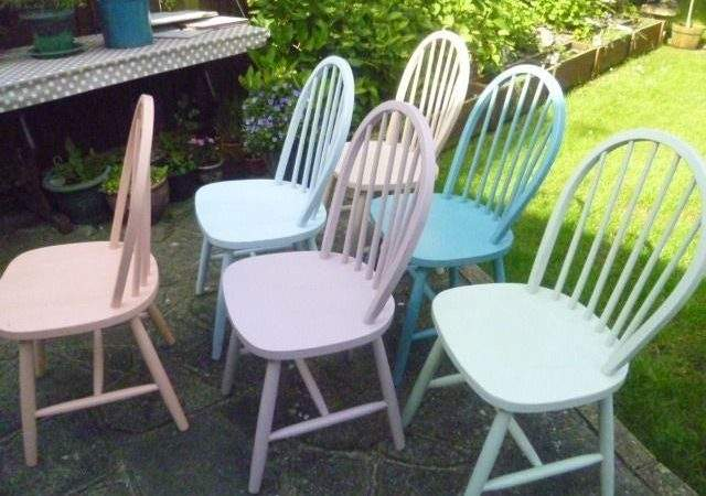 Shabby Chic Multi Coloured Wooden Chairs Chalk