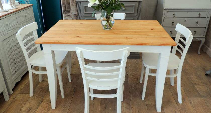 Shabby Chic Pine Dining Table Four Chairs Eclectivo