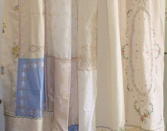 Shabby Chic Shower Curtain Made Vintage Embroidery