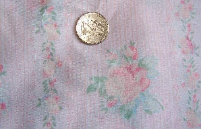 Shabby Vintage Cotton Fabric Rose Trellis Ticking Pink