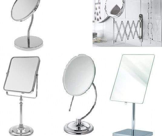 Shaving Make Bathroom Mirror Adjustable Round Square