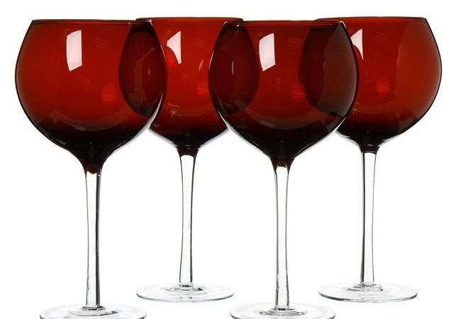 Shop Certified International Ruby Red Wine Glasses