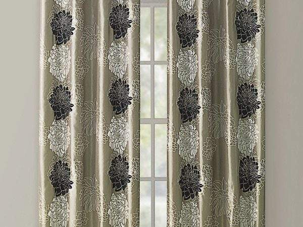 Shop Vcny Atwood Gold Black Modern Floral Grommet Curtain
