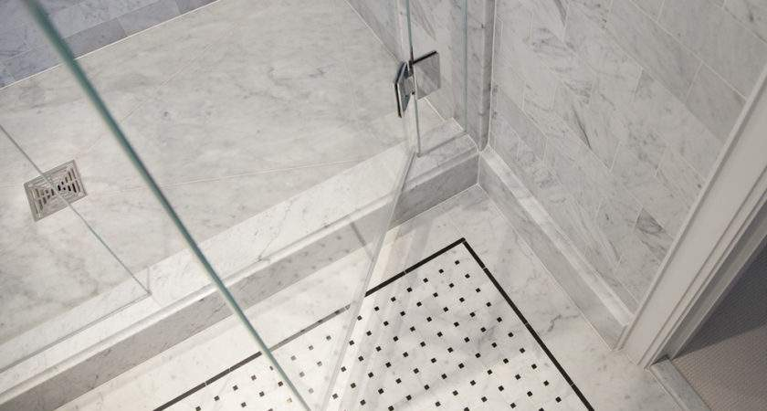 Shower Floor Tile Wrapping Bathroom Interior Chic