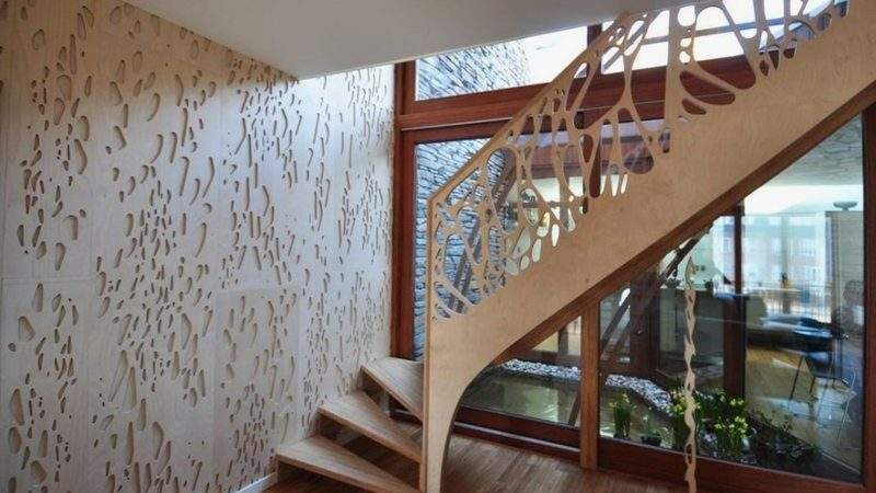 Side Stairs House Stylish Wooden Facade