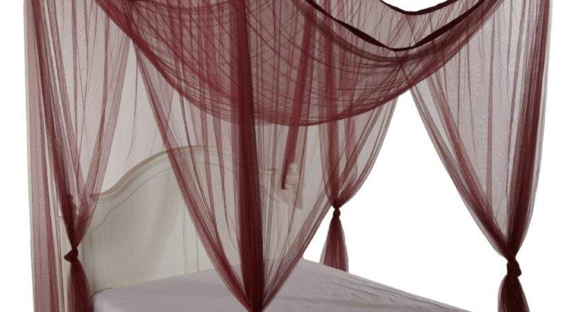Simple Four Poster Bed Canopy Drapes Burgundy Color