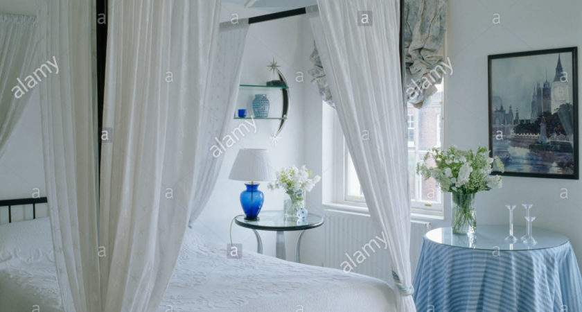 Simple Four Poster Bed White Drapes Bedroom