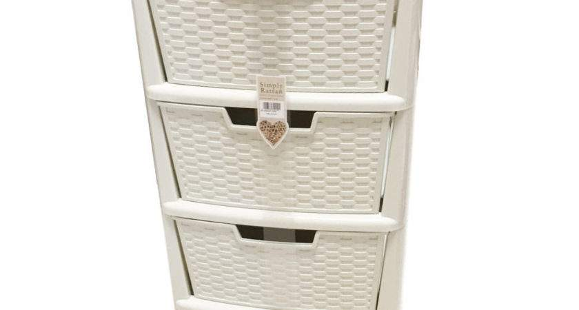 Simply Rattan Drawers Tower Cabinet Bookstand Cream