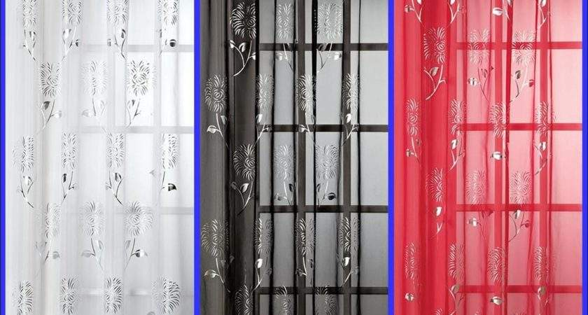 Slot Top Voile Curtain Panel Silver Design Red Black