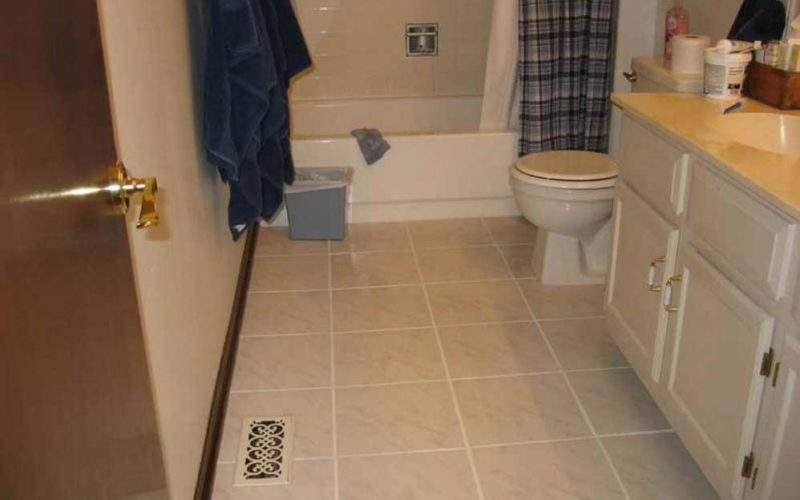 Small Bathroom Tile Floor Ideas Beige Color