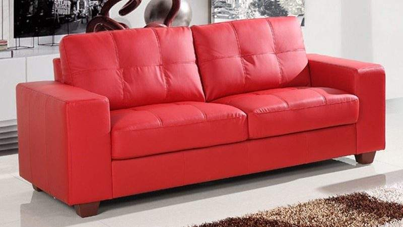 Small Red Leather Sofa Bed