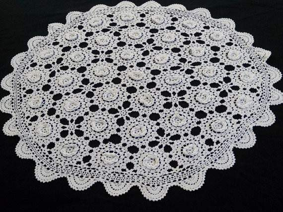 Small White Vintage Lace Round Tablecloth Raised Irish