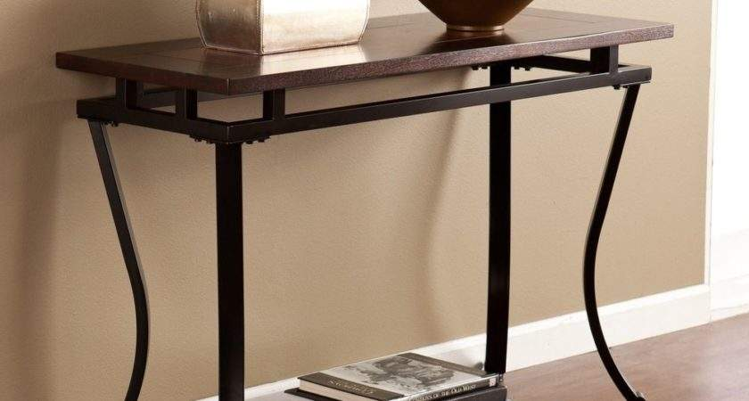 Sofa Table Espresso Transitional Metal Living Room Hall