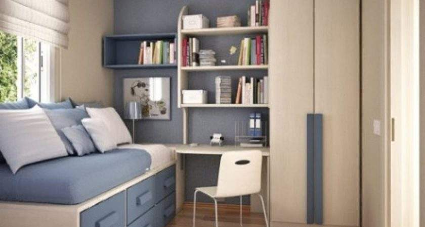 Space Saving Ideas Small Bedrooms Varnished Wooden Bed