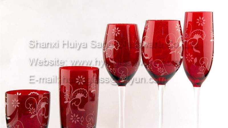 Sprayed Red Color Wine Glasses Decals More Colors