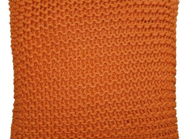 Square Knitted Pouf Orange Fab