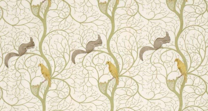 Squirrel Dove Embroidery Fabric Sage Neutral