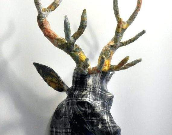 Stag Heads Wall Decoration New Silver Deer Head