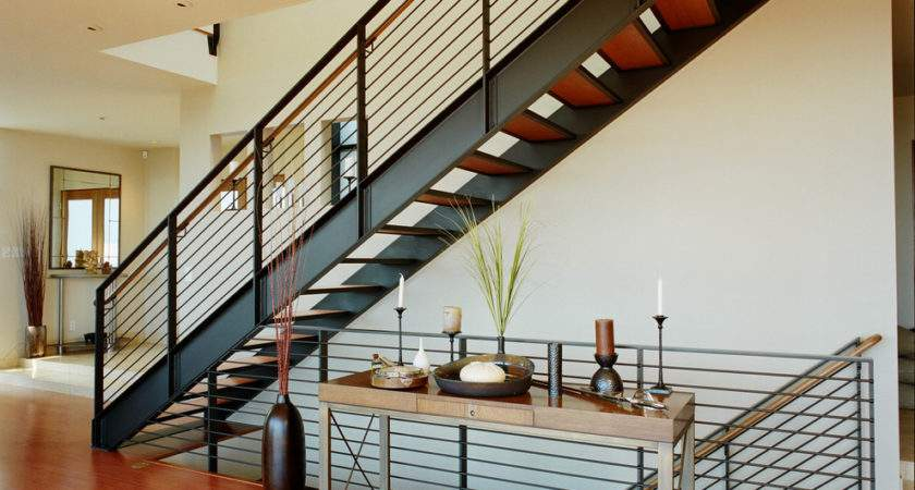 Stair Design Staircase Contemporary Wood Side Table