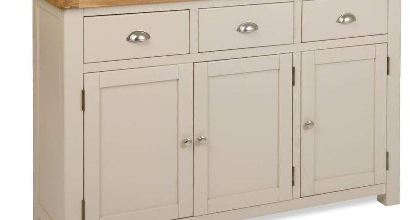 Stone Colour Painted Oak Large Sideboard Cupboard Cabinet
