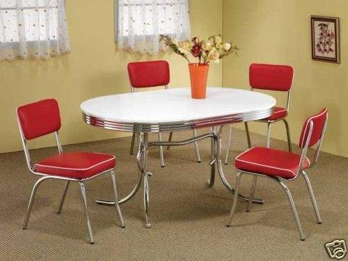 Style Chrome Retro Dining Table Set Red Chairs