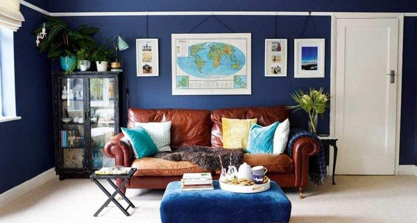 Stylish Brown Leather Couch World Map Luxurious