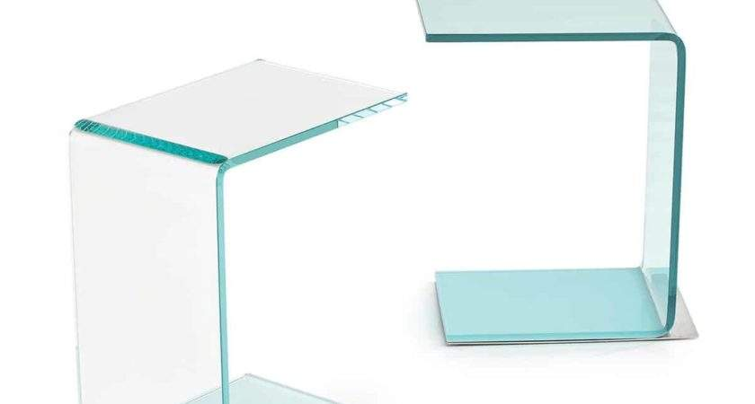 Swan Curved Glass Table Coloured Base Klarity