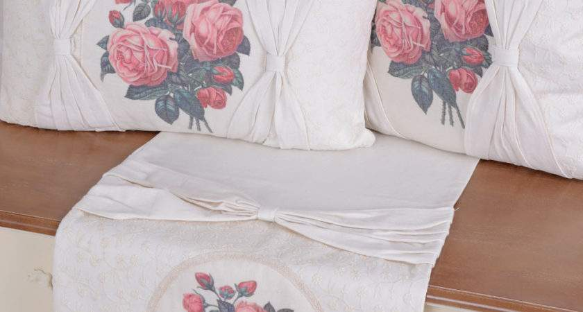 Tablecloth Roses Country Style Table Runner White