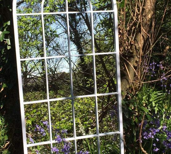Tall Curved Arch Top Metal Garden Mirror Mirrors