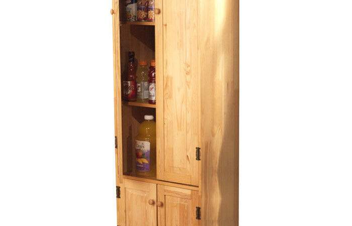 Tall Pine Wood Cabinet Kitchen Pantry Armoire Hutch Bakers