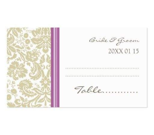 Tan Orchid Wedding Table Place Setting Cards Business Card