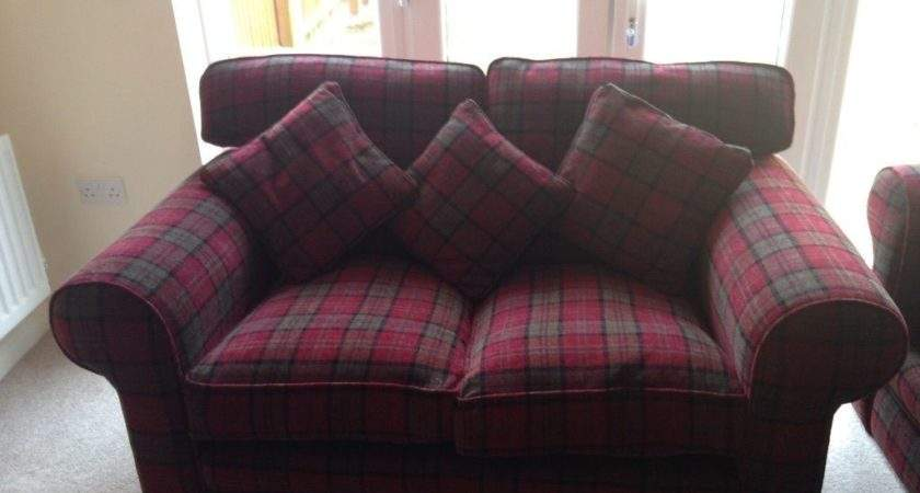 Tartan Sofa Ebay Neutral Red Decor Pinterest