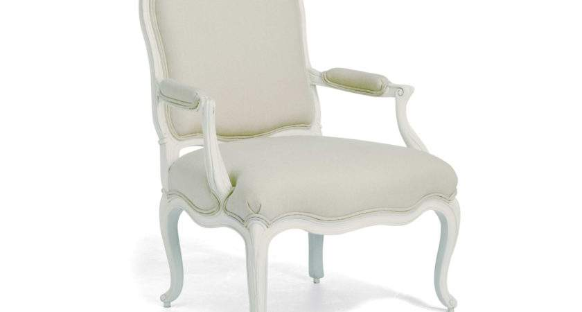Tasteful White Wooden Bedroom Chairs Cream Fabric
