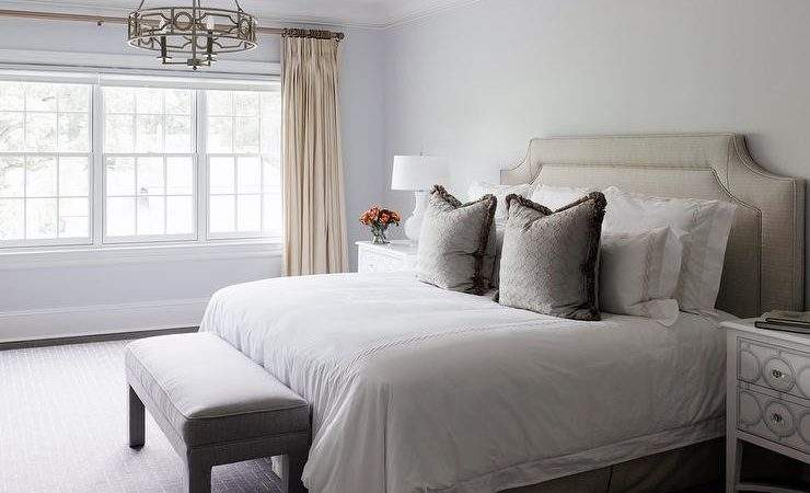 Taupe Headboard Bedskirt Transitional Bedroom