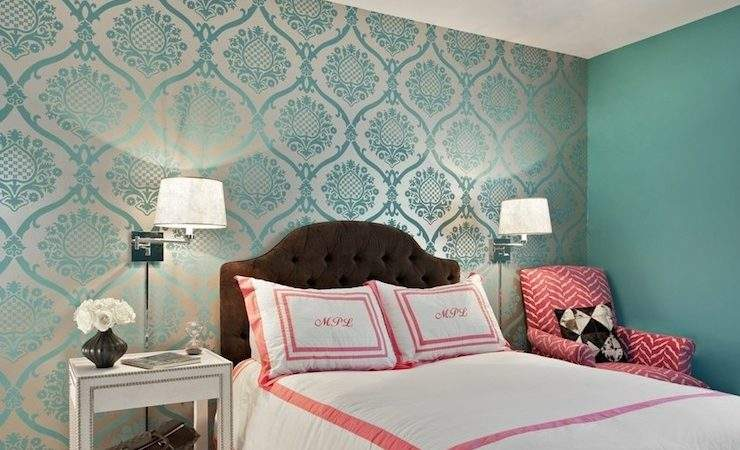 Teal Damask Transitional Bedroom Marks
