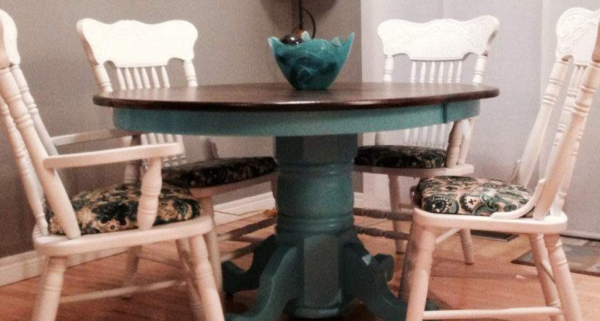 Teal Painted Kitchen Table Glass Painting