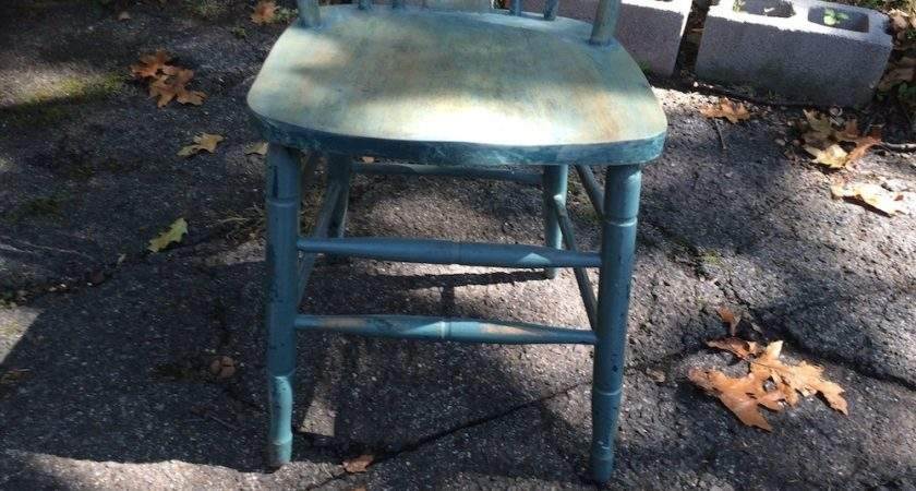 Teal Painted Shabby Chic Wooden Chair Attainable Vintage
