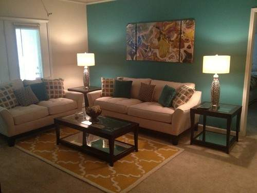Teal Yellow Living Room Sectional Sofa White