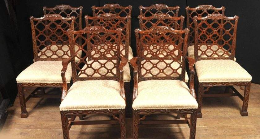 Ten Mahogany Chinese Chippendale Dining Chairs Gothic