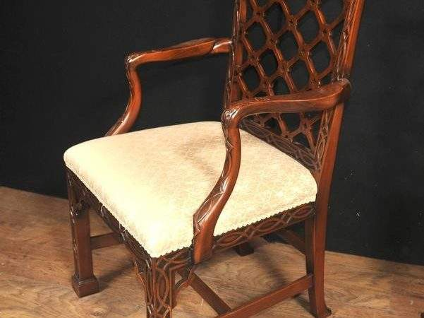 Ten Mahogany Chinese Chippendale Style Dining Chairs