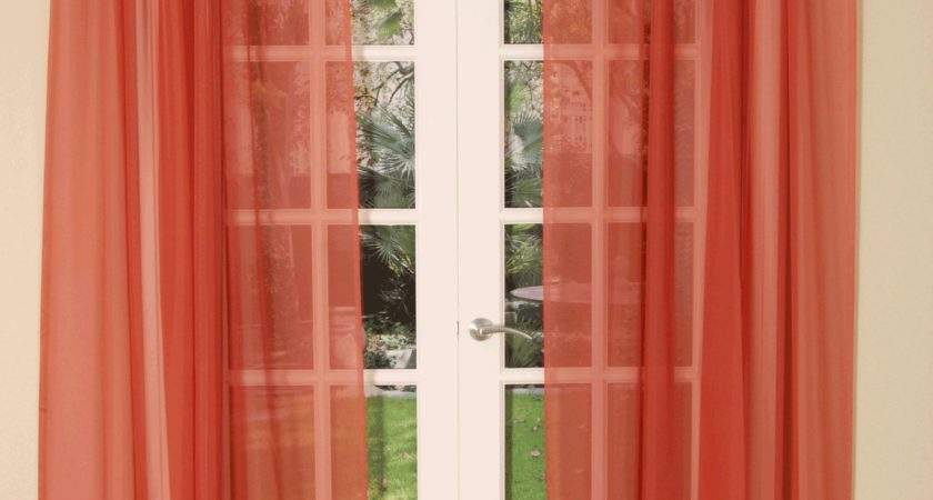 Terracotta Slot Top Voile Curtain Panel Delivery