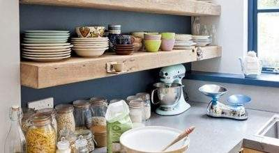 Timber Shelves Bold Painted Wall Kitchen Shelving
