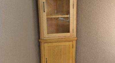 Toronto Solid Oak Tall Corner Display Cabinet Cupboard