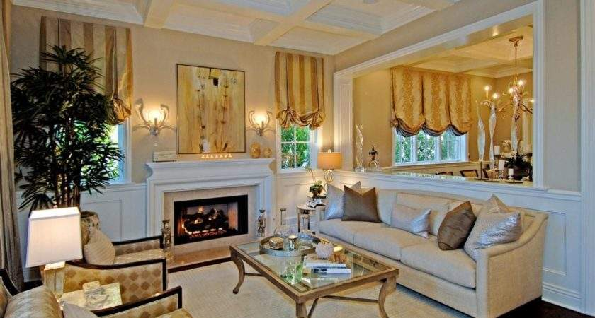 Traditional Neutral Living Room Metallic Accents