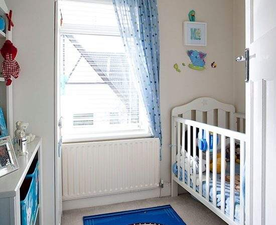 Traditional Style White Blue Nursery