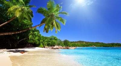 Tropical Blue Sea Clear Sky White Sand Beach Theme