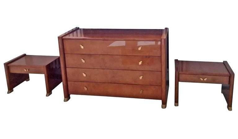 Tura Bedroom Set Goatskin Brass Almond