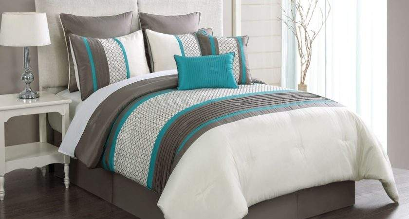 Turquoise Gray Bedding Taupe Embroidery