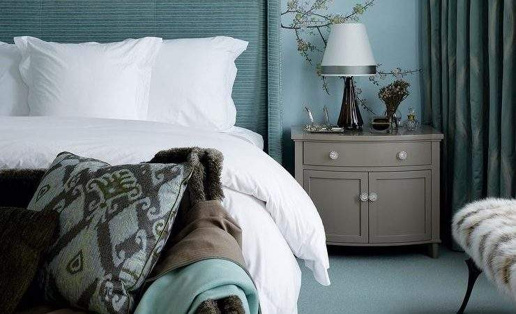 Turquoise Gray Bedrooms Contemporary Bedroom